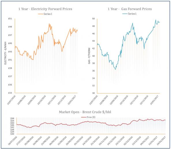 energy price graph - 24-01-2017